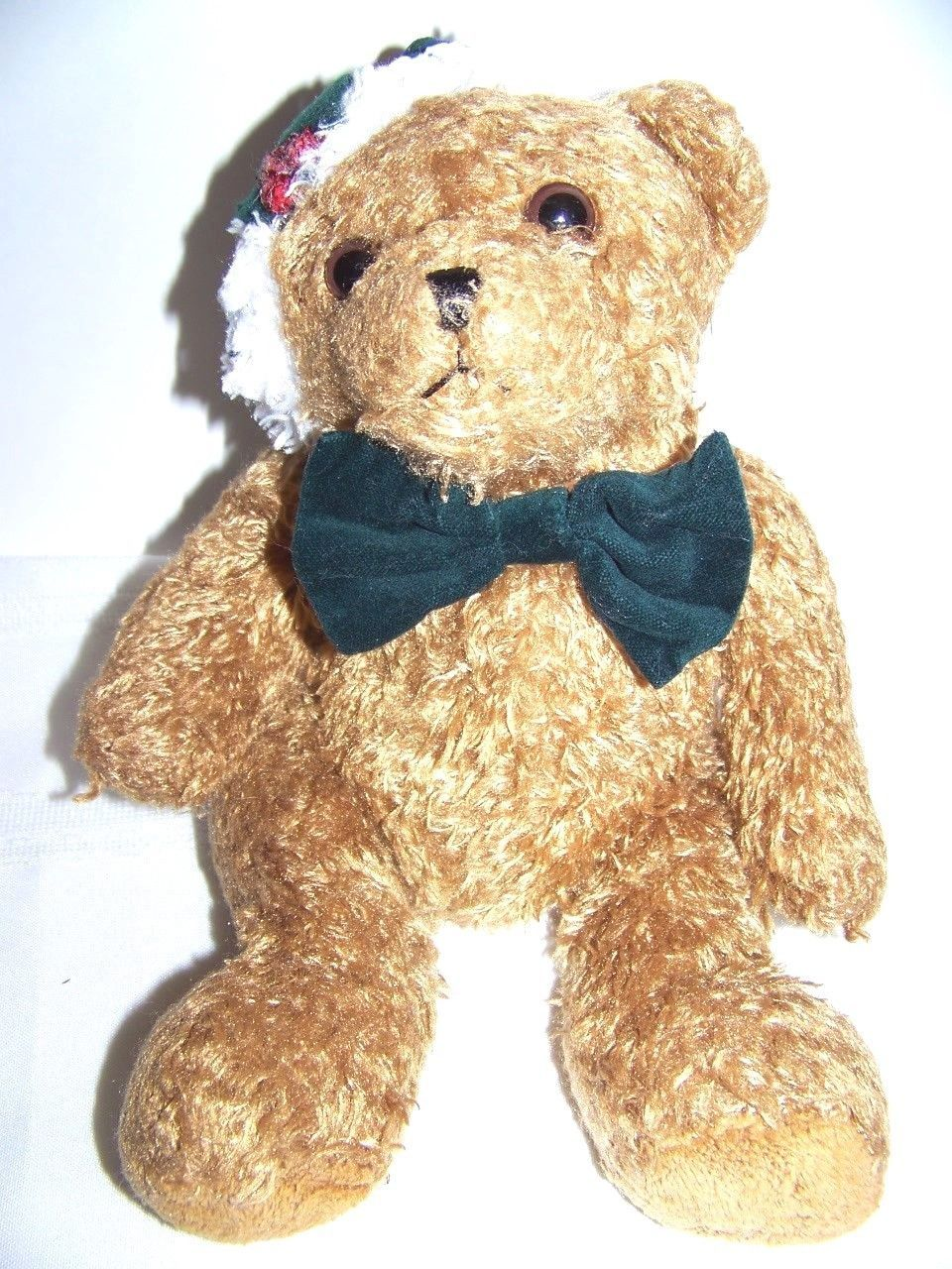 "Primary image for 12"" plush Christmas Teddy bear with green bowtie and stocking hat"
