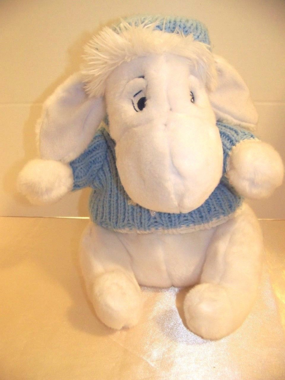 "Primary image for 12"" White Winter Eeyore Plush with blue sweater & hat NWOT"