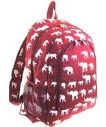 Elephant Print Full Sized Backpack (Burgundy Red) - $24.74