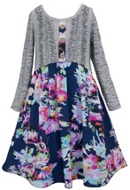 Big Girls Tween 7-16 Ruffle Knit to Floral Chiffon 3/4 Sleeve Dress