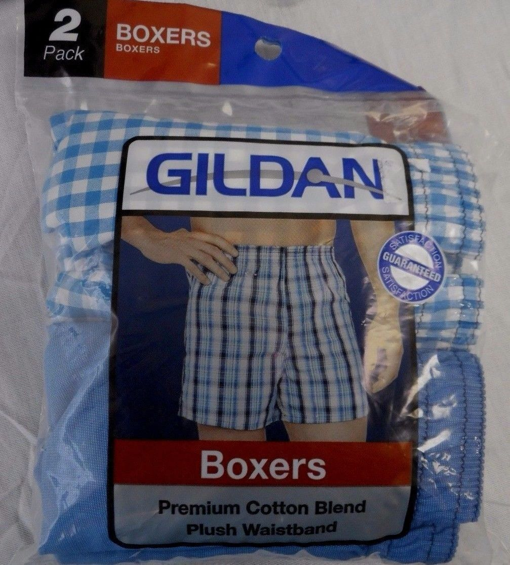 Primary image for Men's Gildan Boxers  2 Pack Blue & Blue Plaid Size Small 28-30 NEW