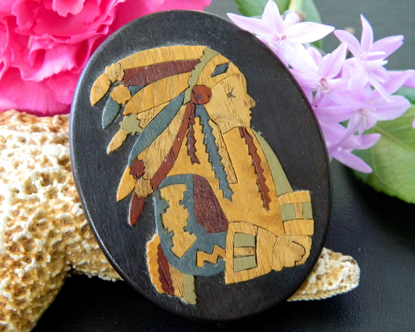 Vintage Marlow Woodcuts Brooch Pin Wood Native American Indian Chief
