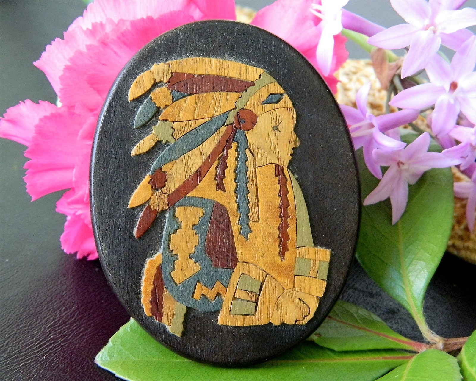 Vintage Marlow Woodcuts Brooch Pin Wood Native American Indian Chief - $29.95