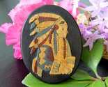 Vintage marlow woodcuts margaret lowe brooch pin chief native american thumb155 crop