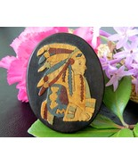 Vintage Marlow Woodcuts Brooch Pin Wood Native ... - $29.95