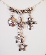 "Baseball Star Charm Pendant Necklace 20"" Long 2"" Extend  - $15.99"