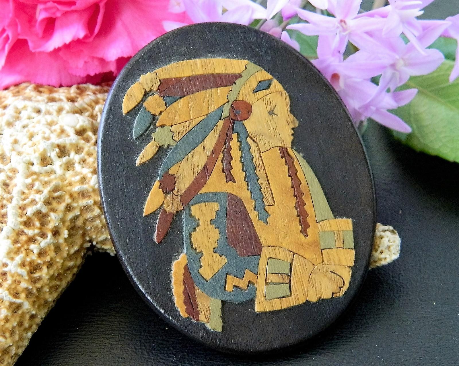 Vintage Marlow Woodcuts Brooch Pin Wood Native American Indian Chief