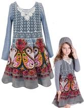 Big Girls Tween 7-16 Grey Mix Media Knit to Printed Chiffon Long Sleeve Dress