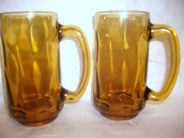 2 VINTAGE HAZEL ATLAS CONTINENTAL CAN COMPANY HEAVY AMBER GLASS BEER MUG... - $28.70