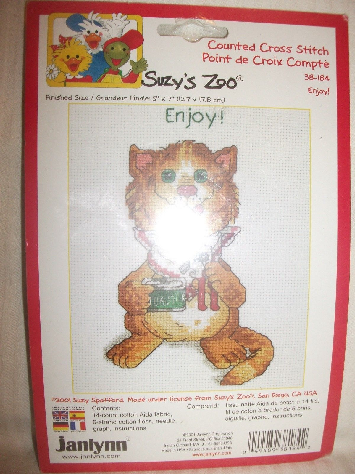 "Primary image for Janlynn Counted Cross Stitch Kit ENJOY by Suzy's Zoo 5"" x 7"" New"