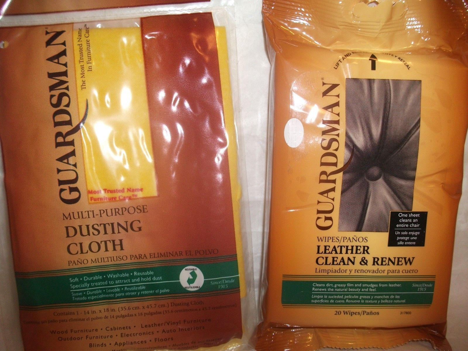 Primary image for Guardsman Clean & Renew Leather Wipes 20-Count + Multipurpose Dusting Cloth NEW