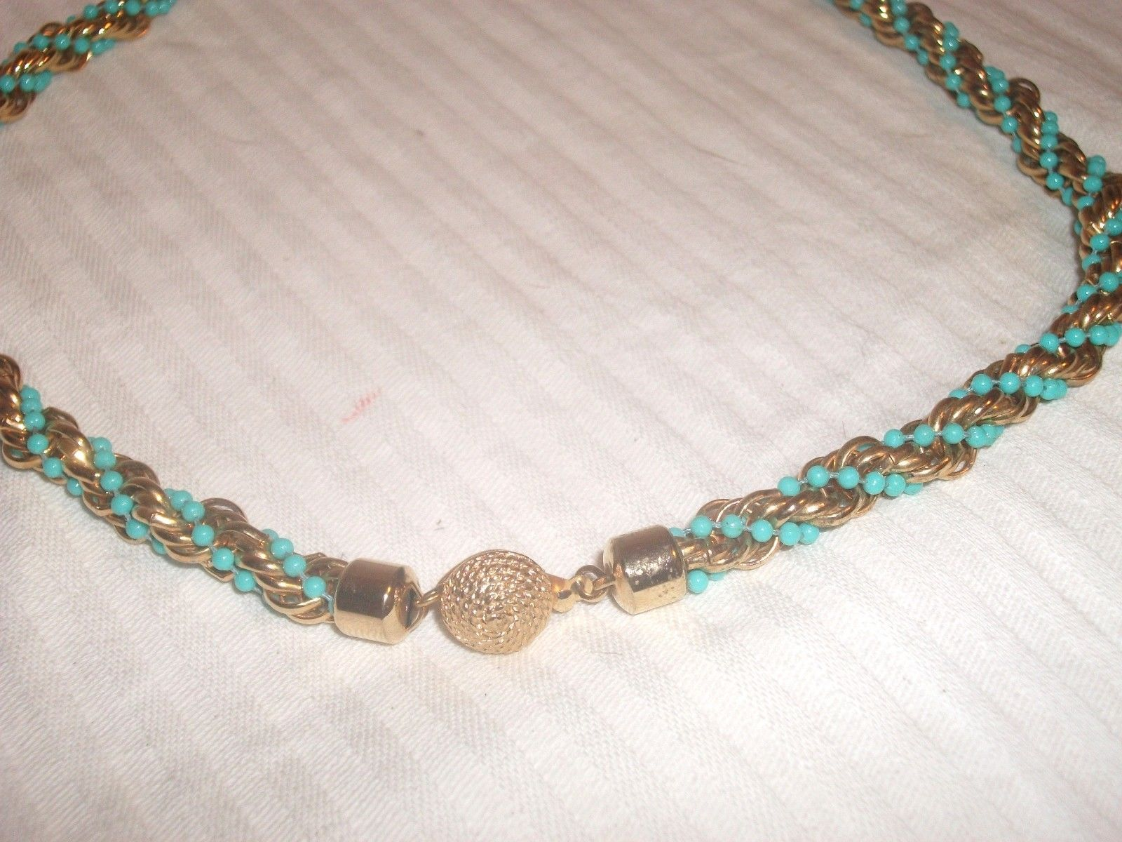 Primary image for Vintage AVON Gold and Faux Turquoise Beads Twisted Rope Statement Necklace 20""