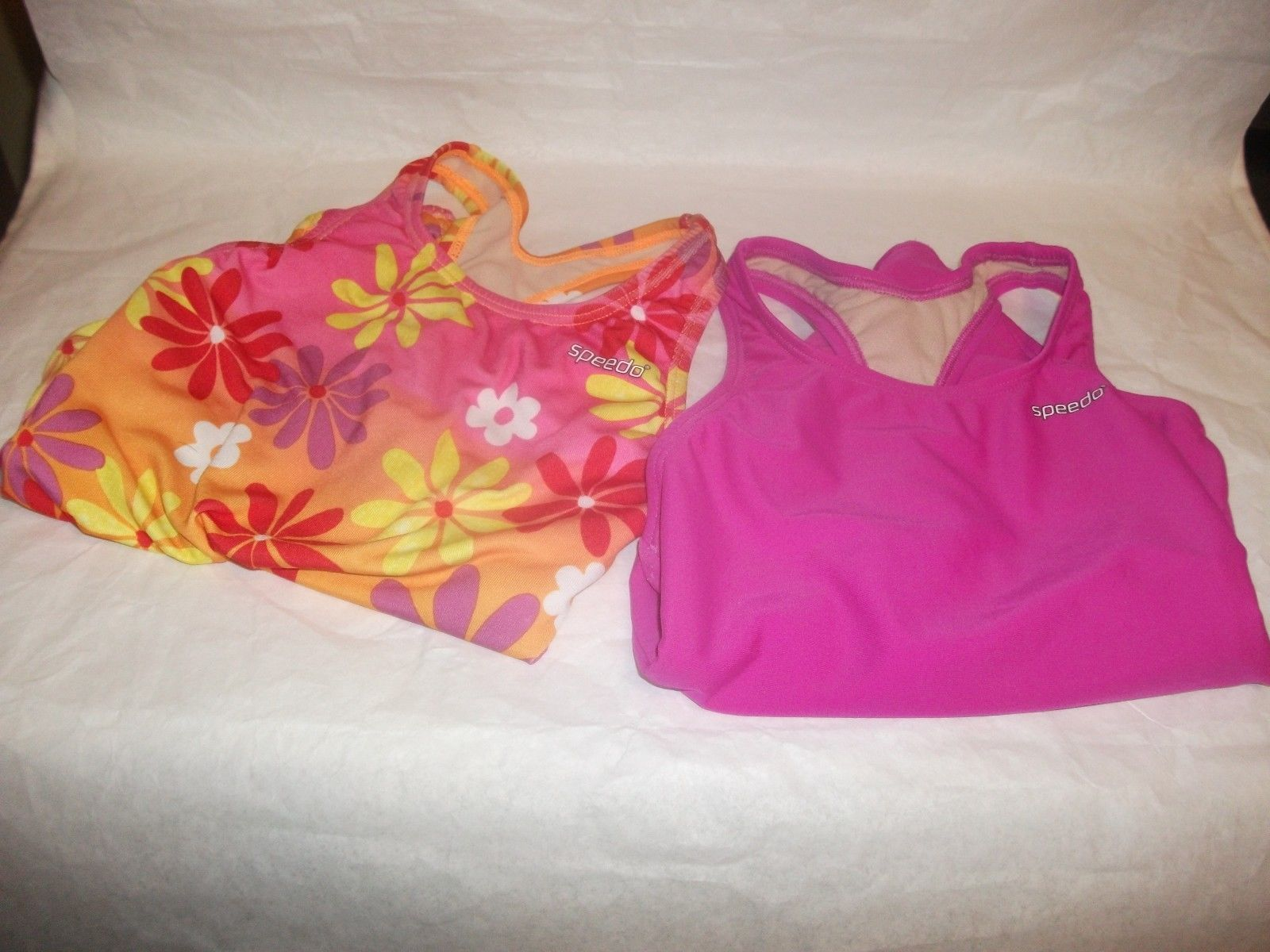 Primary image for Lot 2 Girls SPEEDO Pink Orange Purple Racerback One Piece Swimwear Swimuit Sz 6