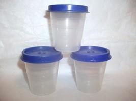 Vintage Tupperware 3 Midget Containers W/ Blue Lids Item 101 - $19.99