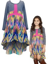 Big Girls Tween 7-16 Knit to Printed Chiffon Long Sleeve High Low Maxi Dress