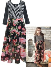 Big Girls Tween 7-16 Chevron Stripe Knit to Floral Chiffon 3/4 Sleeve Maxi Dress