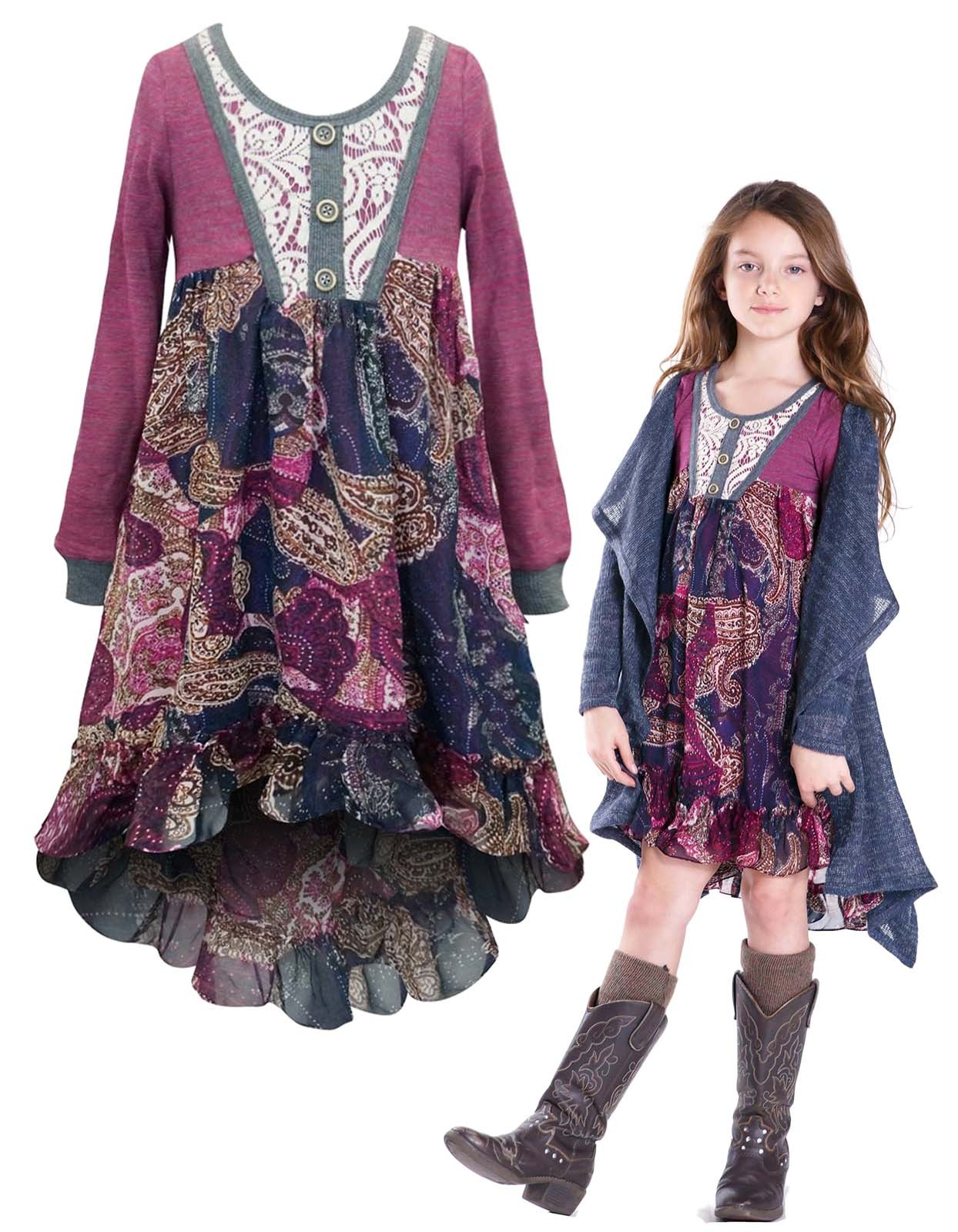 Primary image for Little Girls 2T-6X Berry Long-Sleeve Knit to Printed Chiffon High-Low Dress