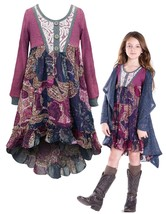 Little Girls 2T-6X Berry Long-Sleeve Knit to Printed Chiffon High-Low Dress