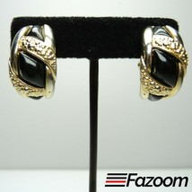 Gold Tone & Black Vintage Clip-On Earrings ~ Fashion Costume Jewelry - $16.82