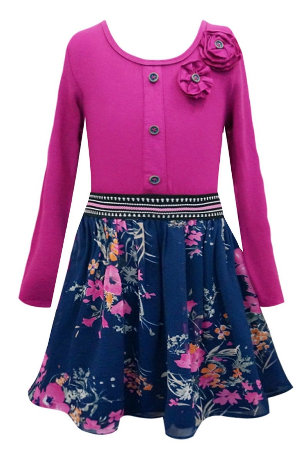 Primary image for Big Girls Tween 7-16 Navy-Blue Fuchsia Knit to Floral Chiffon Long Sleeve Dress