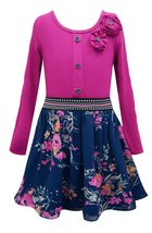 Big Girls Tween 7-16 Navy-Blue Fuchsia Knit to Floral Chiffon Long Sleeve Dress