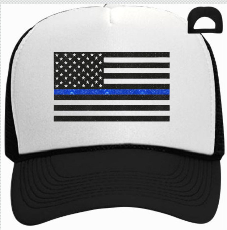 support police officers trucker hat with thin blue line