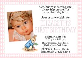 PRINTABLE Peter Rabbit Invitation PINK Photo Birthday Personalized Baby ... - £6.76 GBP