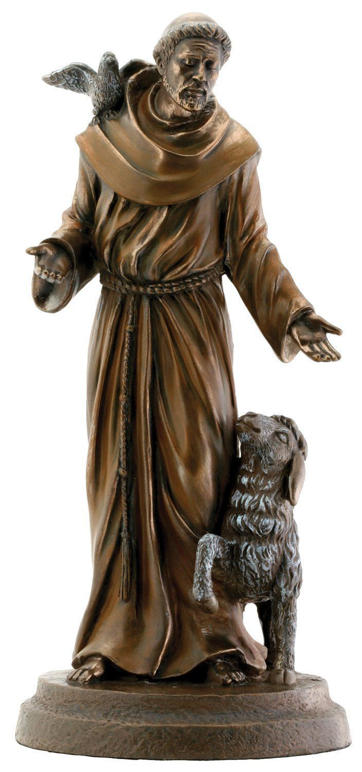 Garden Statue St Francis: St Francis Of Assisi Patron Of Animals Bird/Lamb 7.8