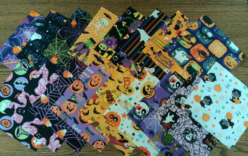 "Primary image for Halloween Themed Finishing Fabric 5"" x 5"" - 17 pcs total cross stitch quilting"