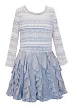 Big Girls Tween 7-16 Grey/Ivory Long-Sleeve Lace to Vertical Cascade Knit Dress