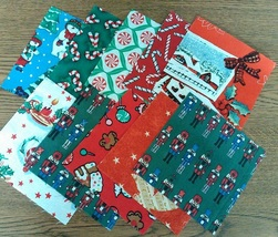 "Christmas Themed Finishing Fabric 5"" x 5"" - 10 pcs total cross stitch quilting - $3.00"