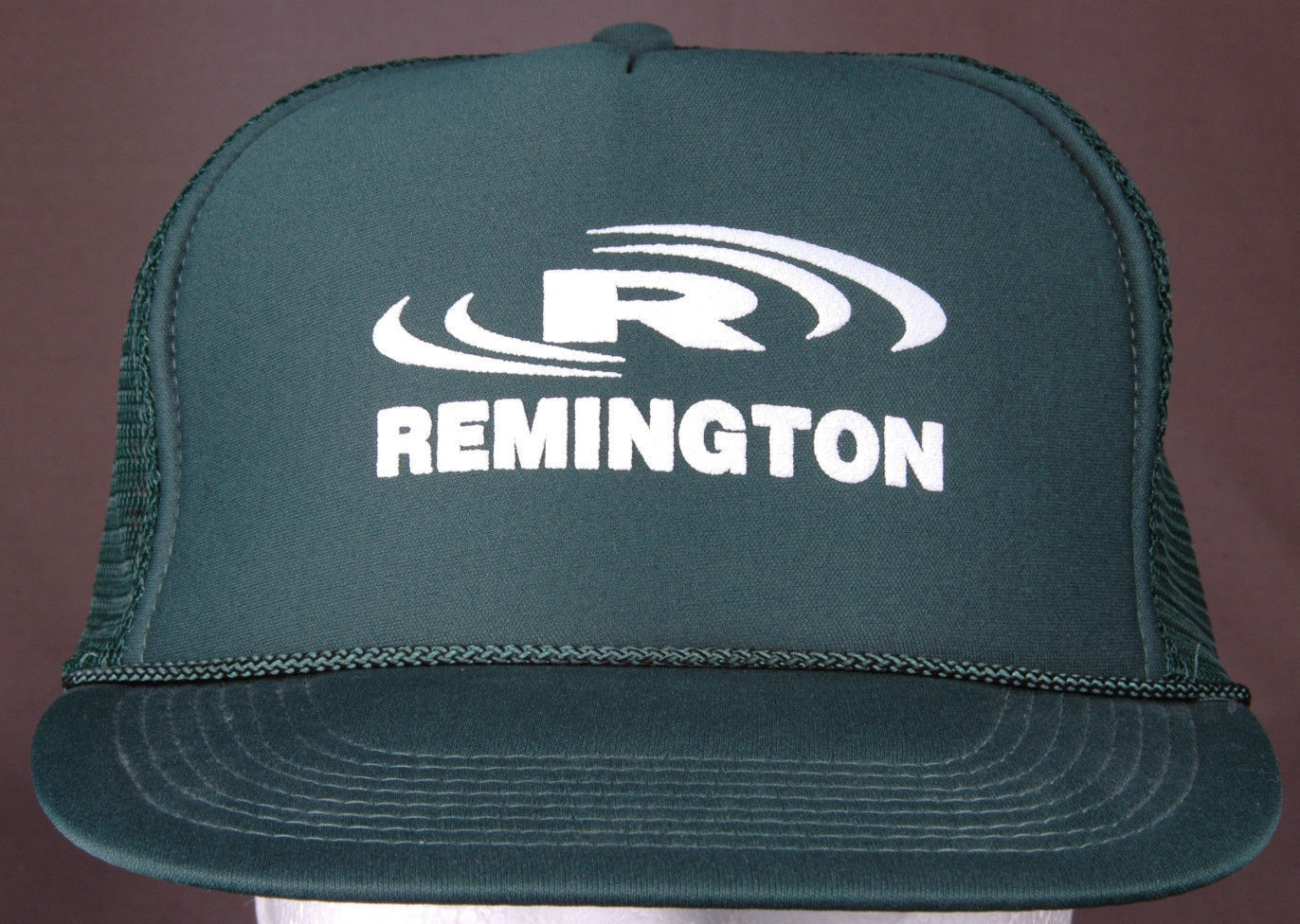 Primary image for Vtg Remington Tire Trucker Hat-Dark Green-Rope Bill-Mesh-Puff Letters-Snapback..