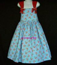 NEW Handmade Daisy Kingdom Cherries On Blue Sun Dress Custom Sz 12M-10Yrs - $54.98