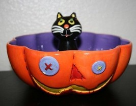 Halloween Candy Dish with Black Cat and Smiling Pumpkin So Cute! - $8.41