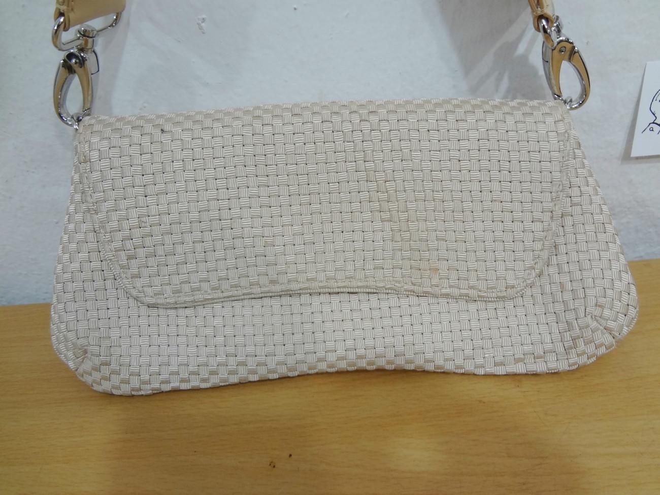 The Sak Saks Fifth Avenue Beige Crochet Baguette Shoulder Bag Handbag Purse