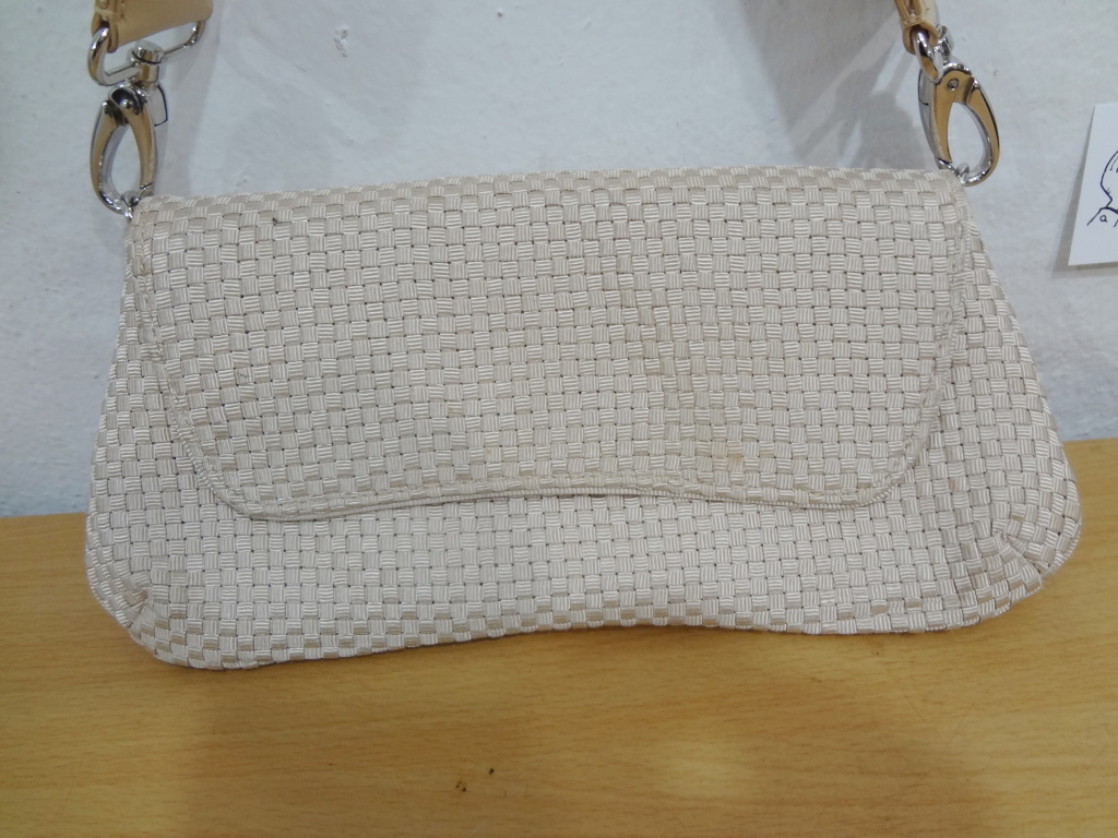 The Sak Saks Fifth Avenue Beige Crochet Baguette Shoulder Bag Handbag Purse