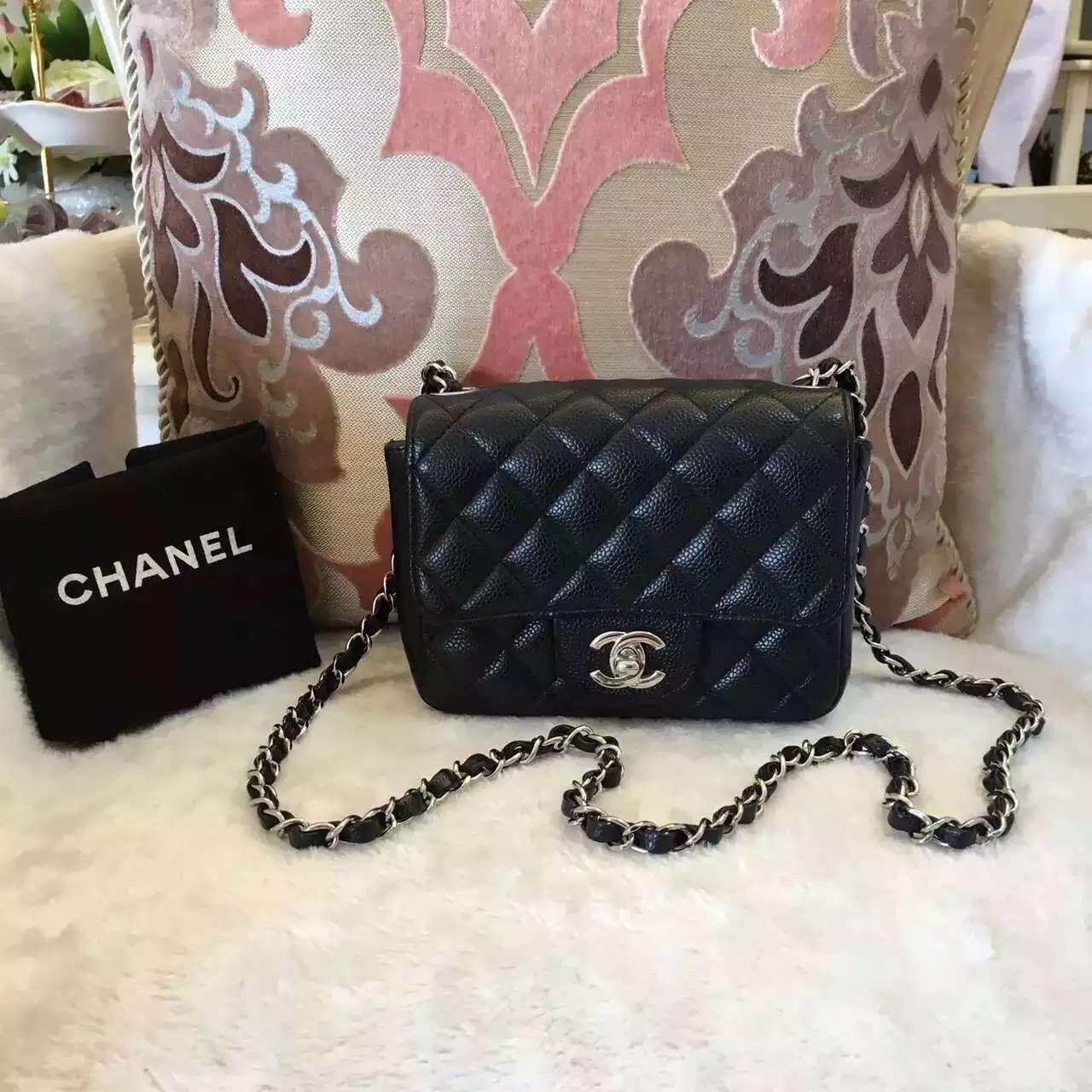 2bc4e6ad3b42 Authentic CHANEL Classic Square Mini Flap Bag Black Caviar SIlver ...