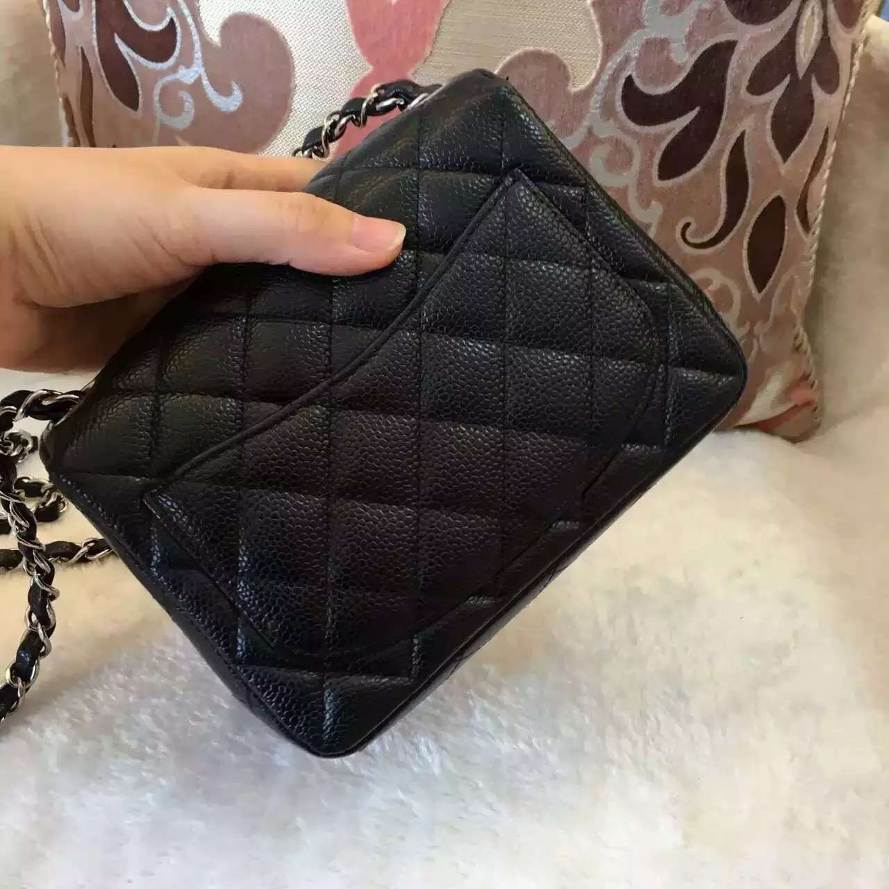 ef961a841b79 Authentic CHANEL Classic Square Mini Flap Bag Black Caviar SIlver Hardware