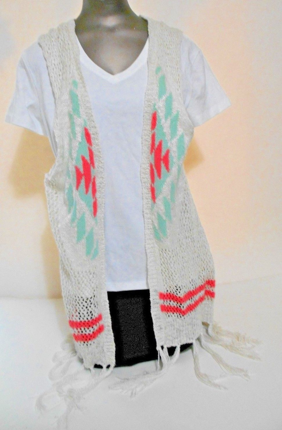 Primary image for charlotte russe White Pink Gree Lace Pattern Fringed Cotton Vest Sweater Size M