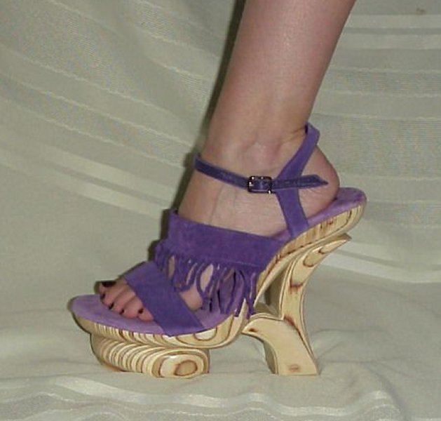"Primary image for Size 12 - 5"" Karo's Purple Suede Fringe w/Unique Wood Platform #0894"
