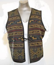 Jones New York Country Brown Tapestry One button Geometric Pattern Vest ... - $15.17