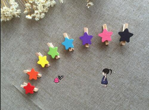 Primary image for 30pcs Star Mini Wooden Decorative Wooden Clip,Wood Note Pegs School Supplies