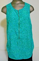 Michael Kors Green Turquoise Zipper Closure Sleeveless Blouse Top  size ... - $11.72