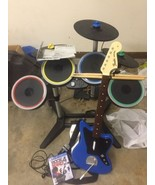 PS4 Rock Band 4 Lot W/ Fender Guitar Drums Set W Triple Pro Cymbals Game... - $512.47