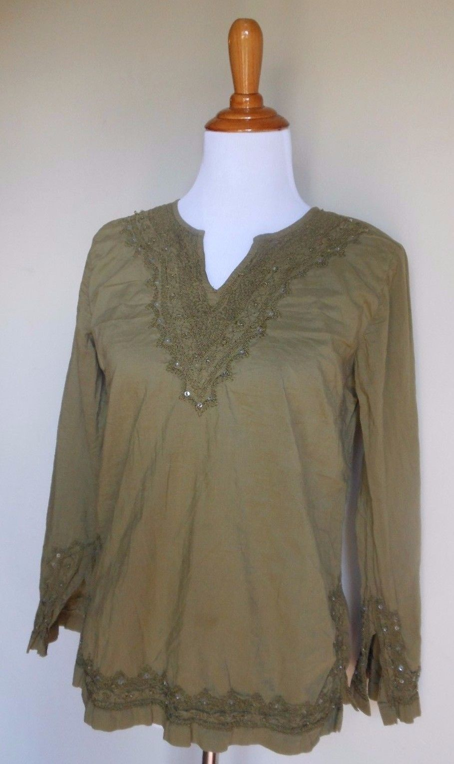 Primary image for FUNKY PEOPLE ANTHROPOLOGIE ~ MEDIUM GREEN BEAD EMBROIDERED BOHO TUNIC TOP