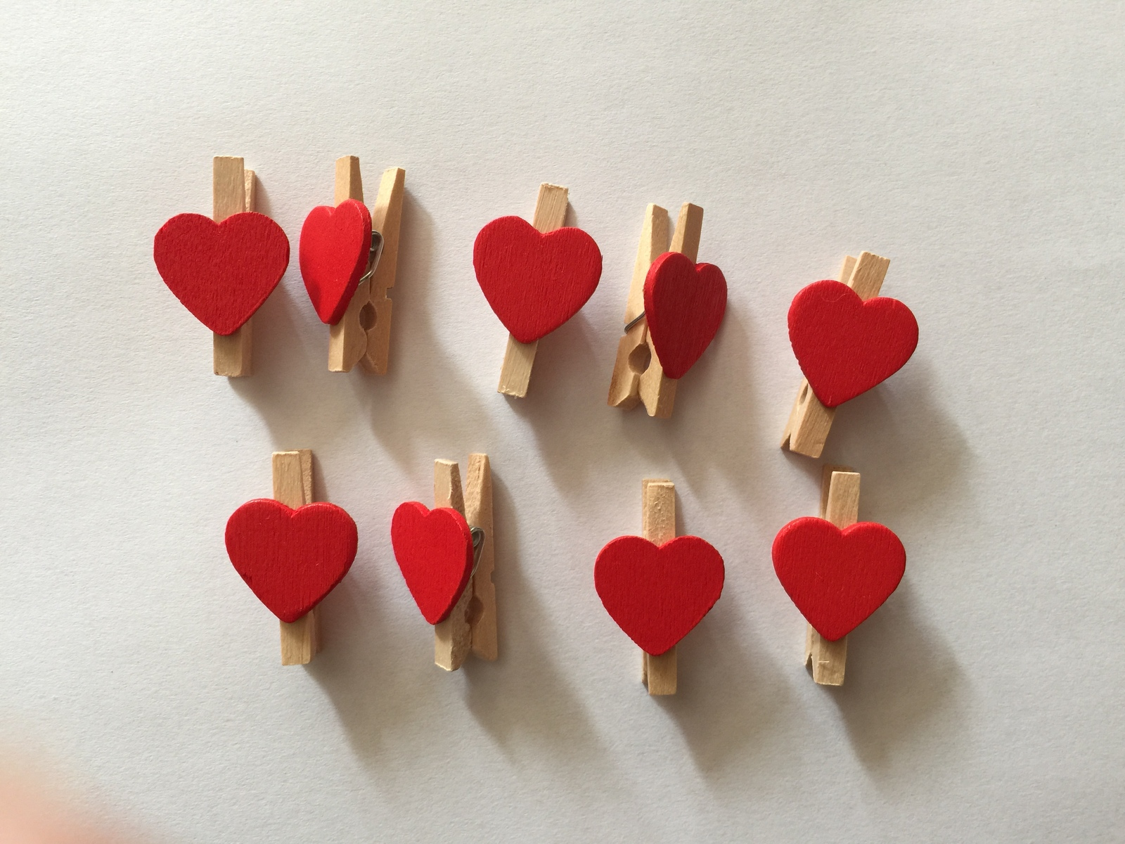 Primary image for 100pcs Red Heart Wooden Paper Clips,clothespin,wedding party Favor decorations