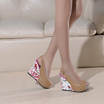ps263 sweet & beautiful wedge sandals,size 34-39, apricot - $78.80