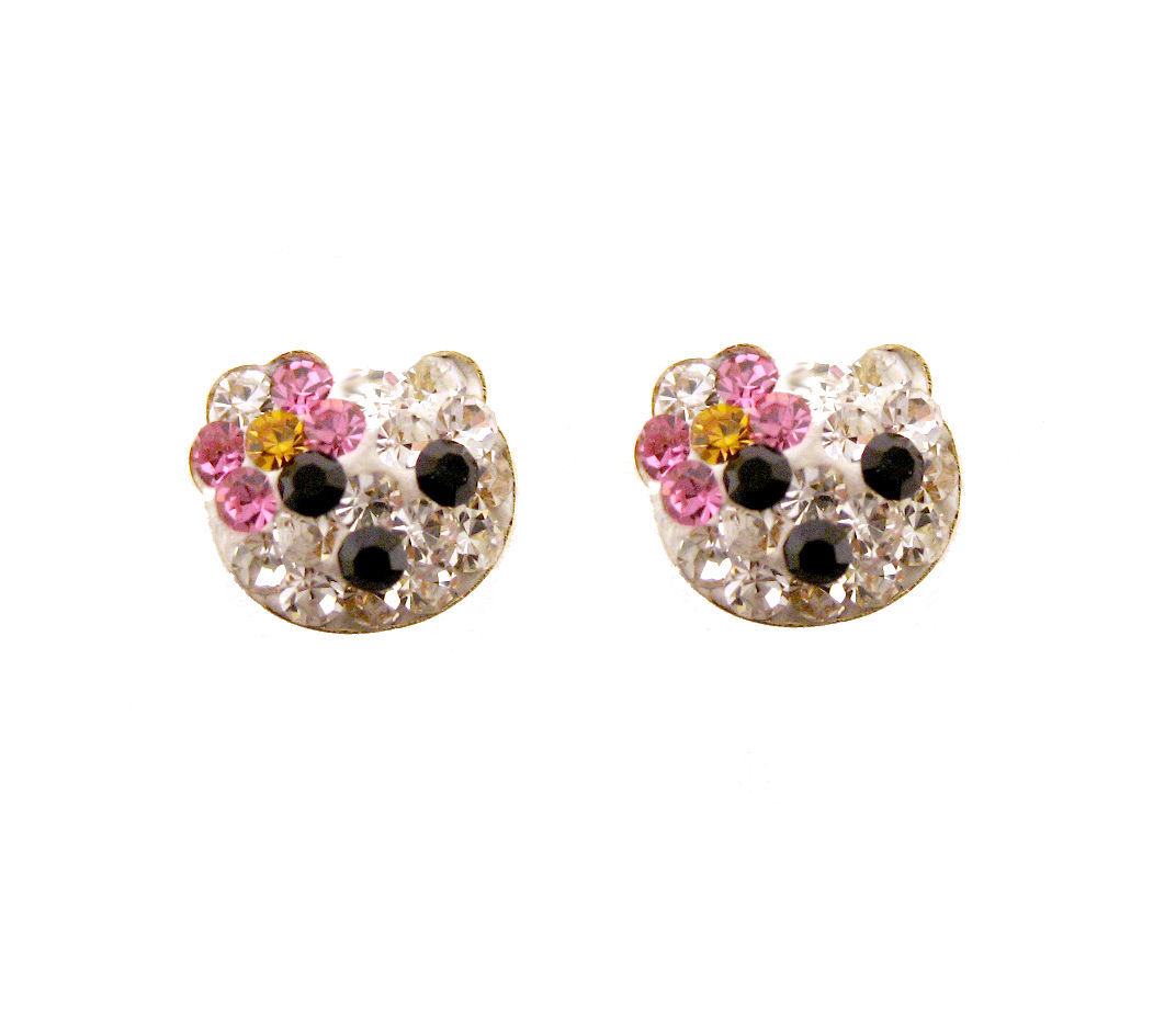Earrings 14k Gold Cz Hello Kitty Screw Back and 50 similar items