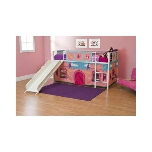 Primary image for Girls White Twin Loft Bed w/Slide Ladder Rails Princess Castle Curtains Playhut