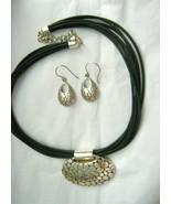 "Pebbled Silver 2"" wide pendant 16"" black cord necklace 925 pierced earr... - $39.59"